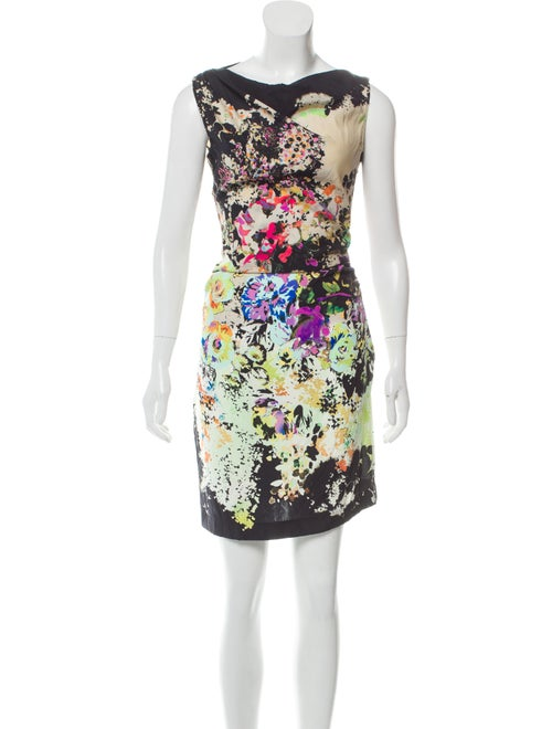 Etro Watercolor Ruched Dress Black