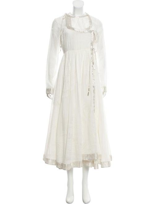 Etro Long Sleeve Maxi Dress white