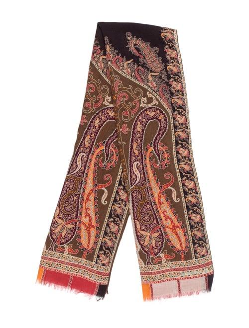 Etro Silk-Wool Printed Scarf Brown