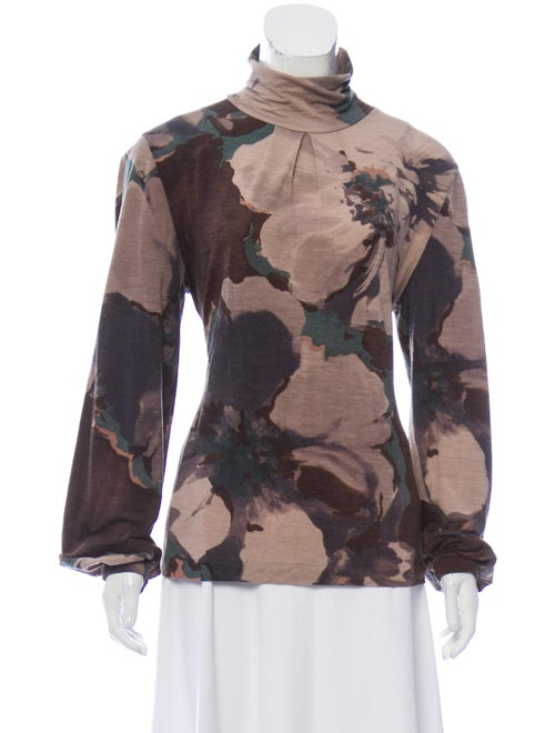 Etro Turtleneck Long Sleeve Top Beige