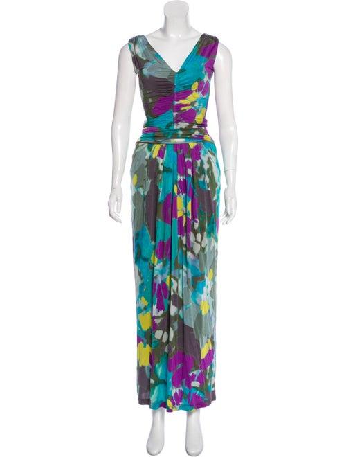 Etro Printed Maxi Dress Olive