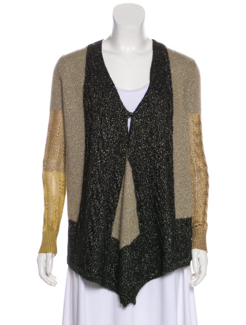 Etro Metallic Knit Cardigan Beige