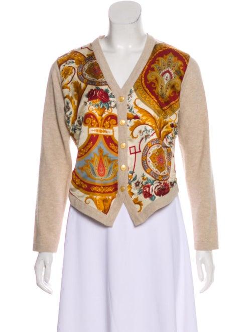 Etro Silk-Paneled Wool Cardigan Beige