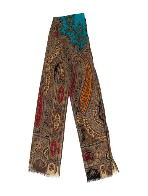 Etro Printed Silk & Wool Scarf Tan