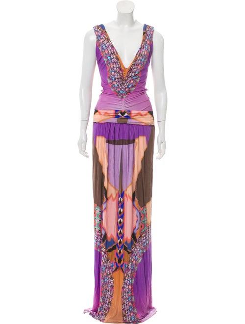 Etro Printed Maxi Dress Purple