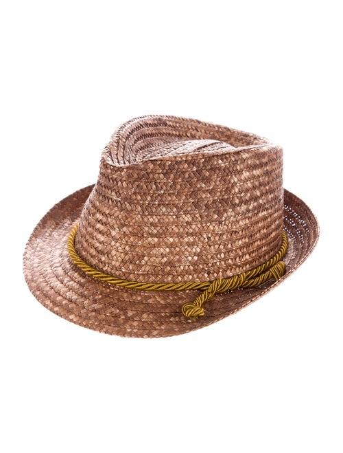 Etro Straw Fedora Hat brown