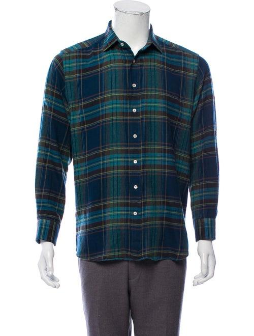 Etro Plaid Flannel Shirt blue