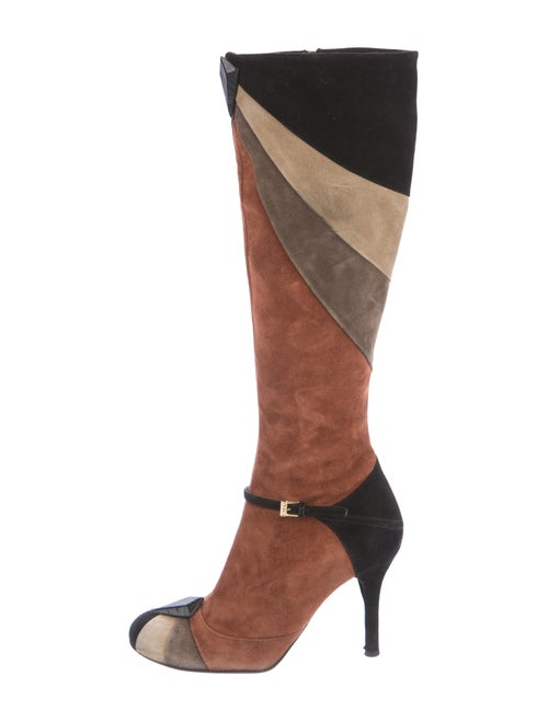 Etro Suede Knee-High Boots Brown