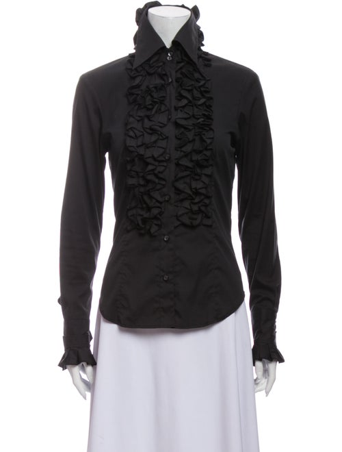 Etro Turtleneck Long Sleeve Button-Up Top Black