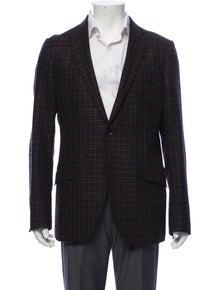 Etro Wool Plaid Print Blazer
