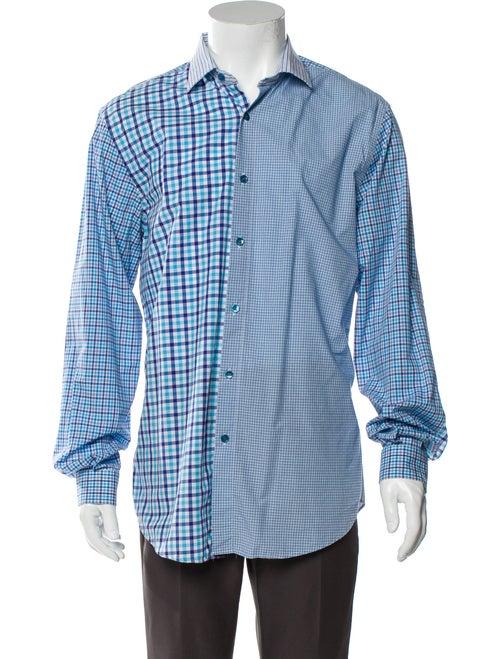 Etro Plaid Print Long Sleeve Shirt Blue