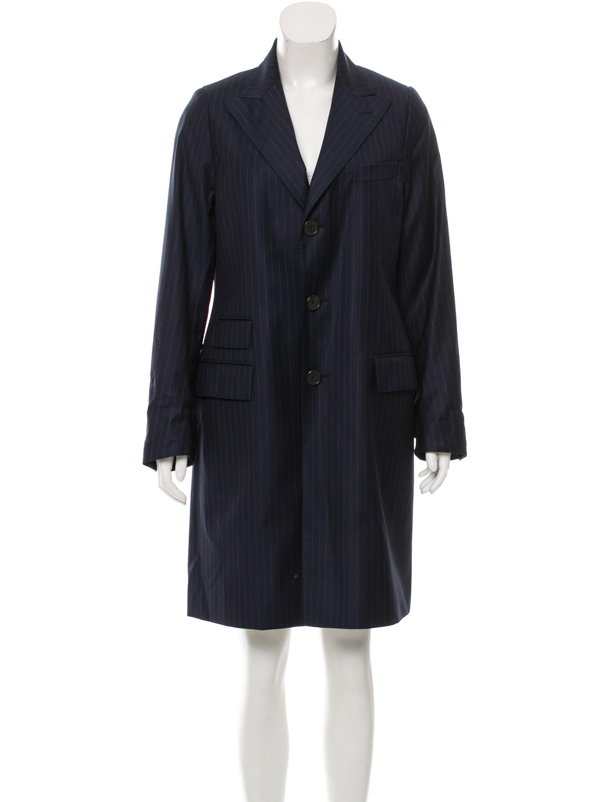 Fau00e7onnable Pinstriped Longline Jacket - Clothing - FAC20039   The RealReal