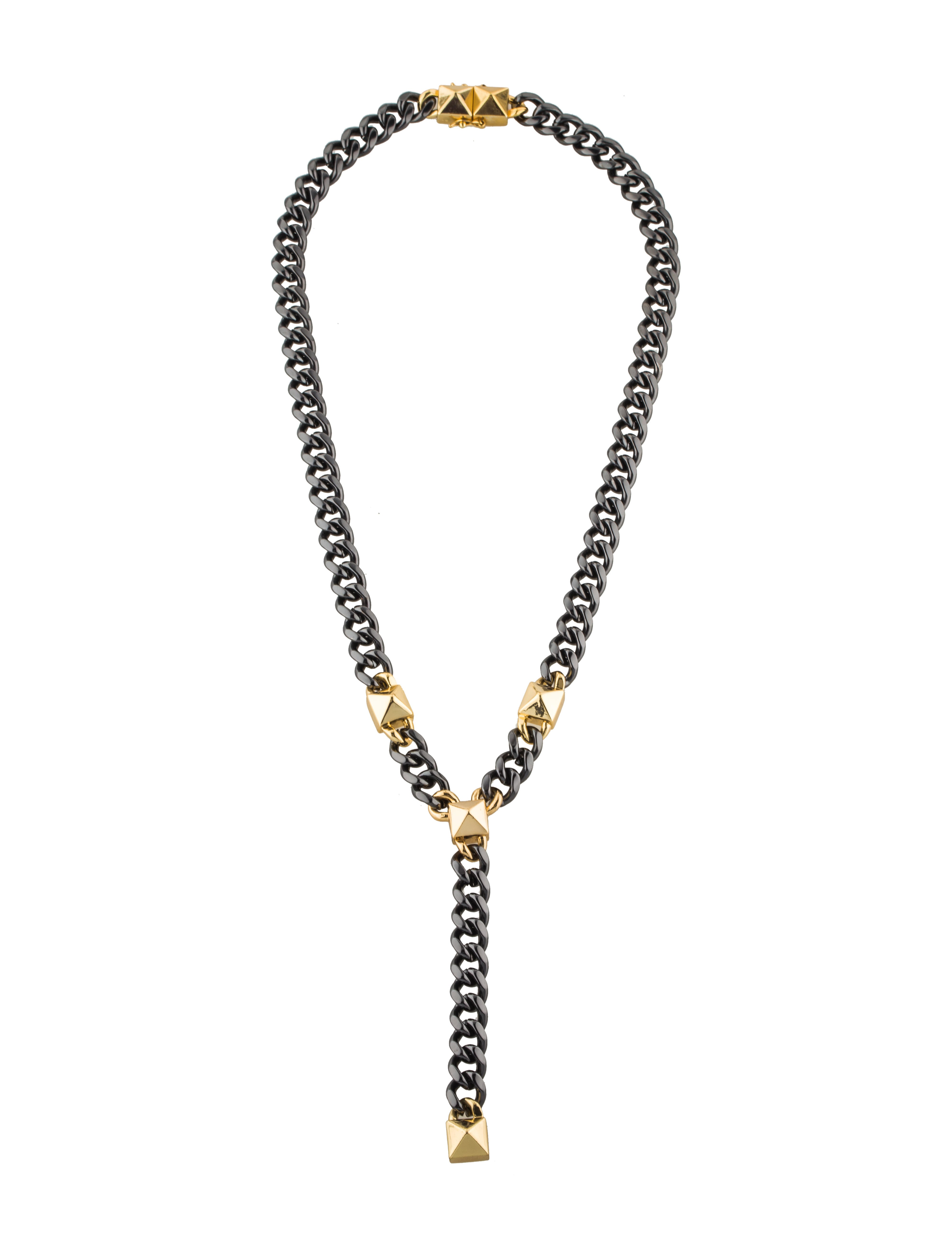 fallon studded curb chain y necklace necklaces. Black Bedroom Furniture Sets. Home Design Ideas