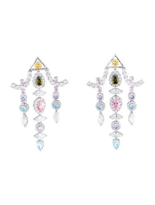 Fallon Crystal Pagoda Chandelier Earrings Silver