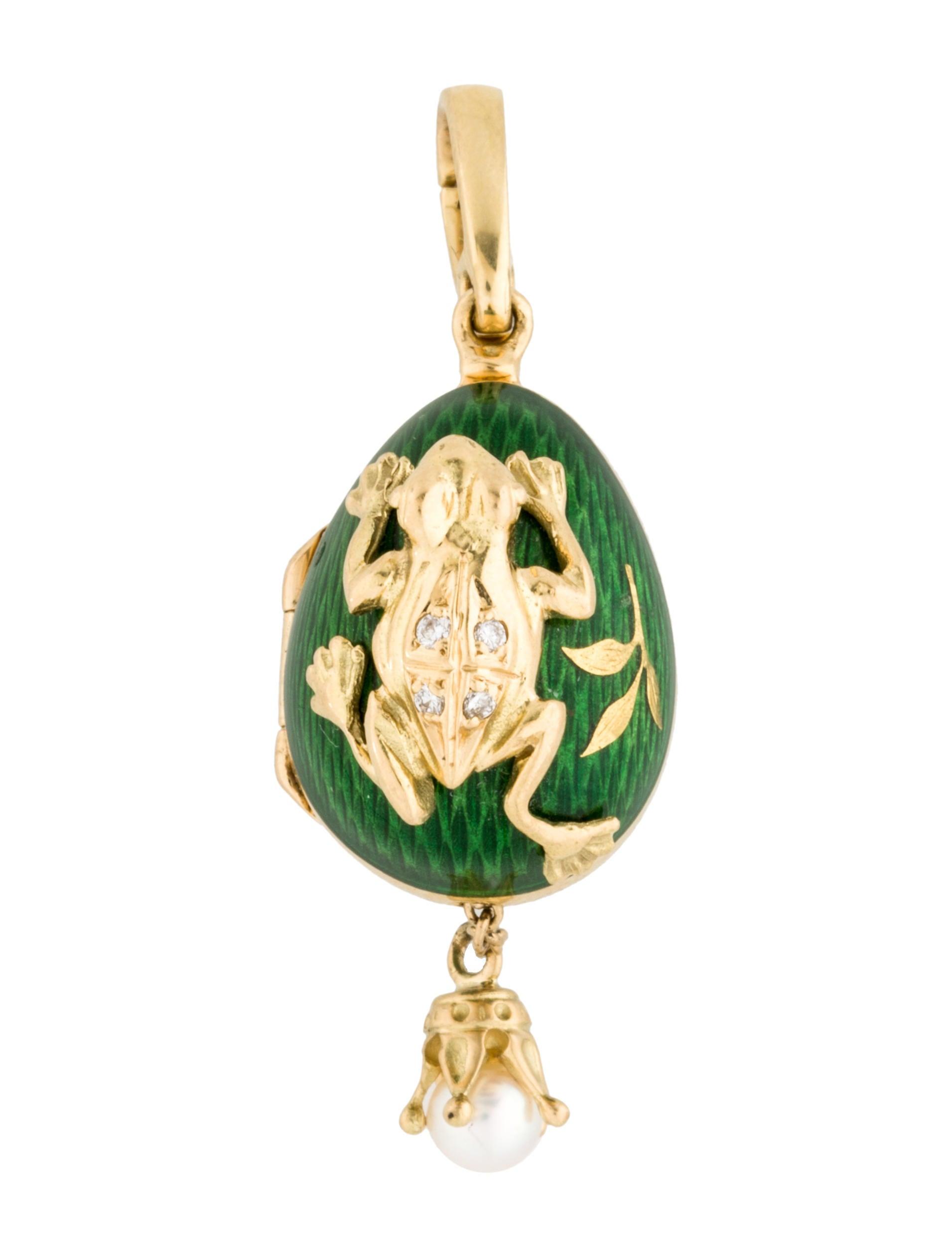Faberg Frog Enamel Egg Pendant Necklaces FBG20047