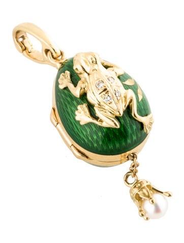 Frog Enamel Egg Pendant