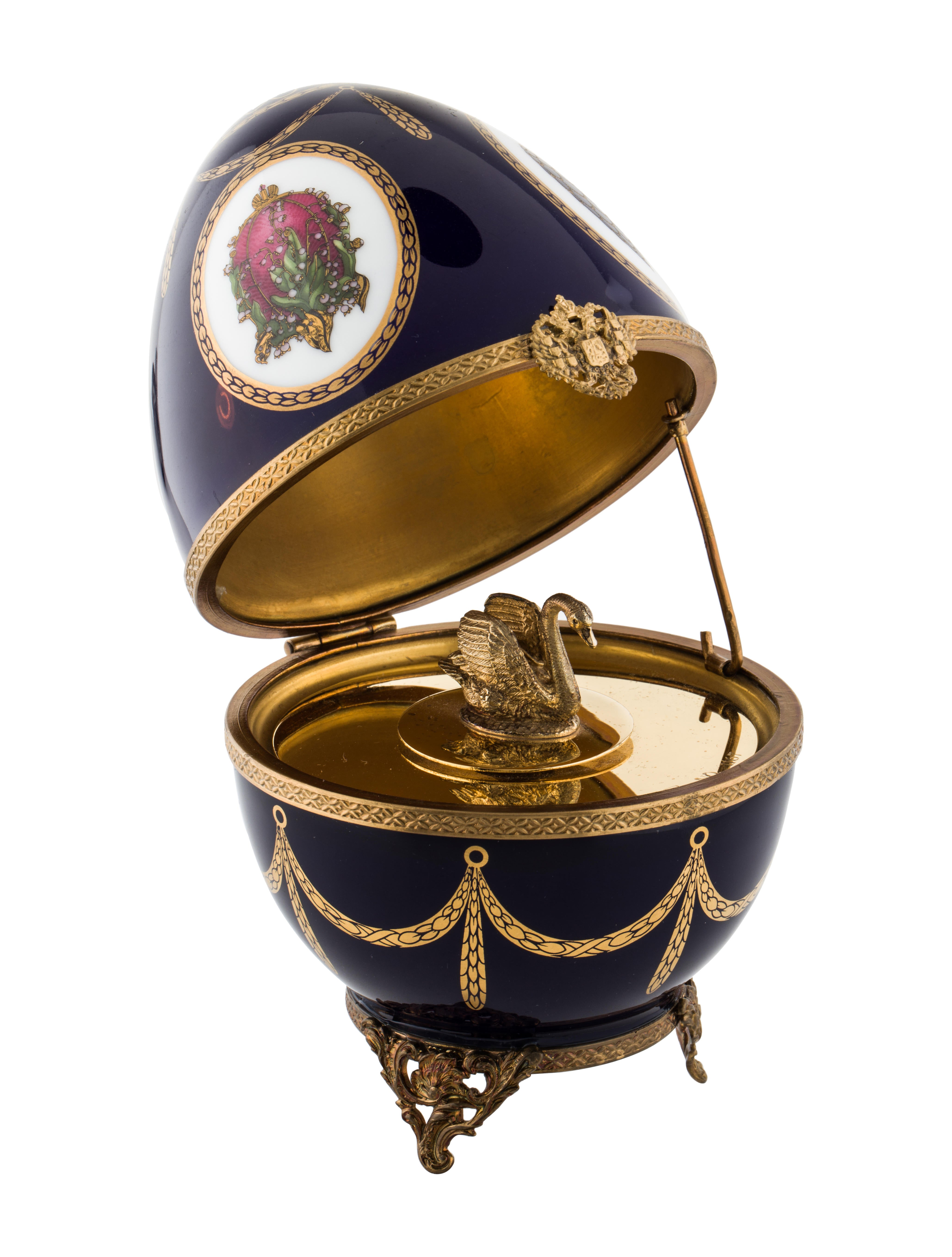 Faberg imperial swan egg music box decor and for Artistic accents genuine silver decoration
