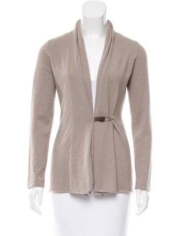 Fabiana Filippi Leather-Trimmed Wool Cardigan w/ Tags