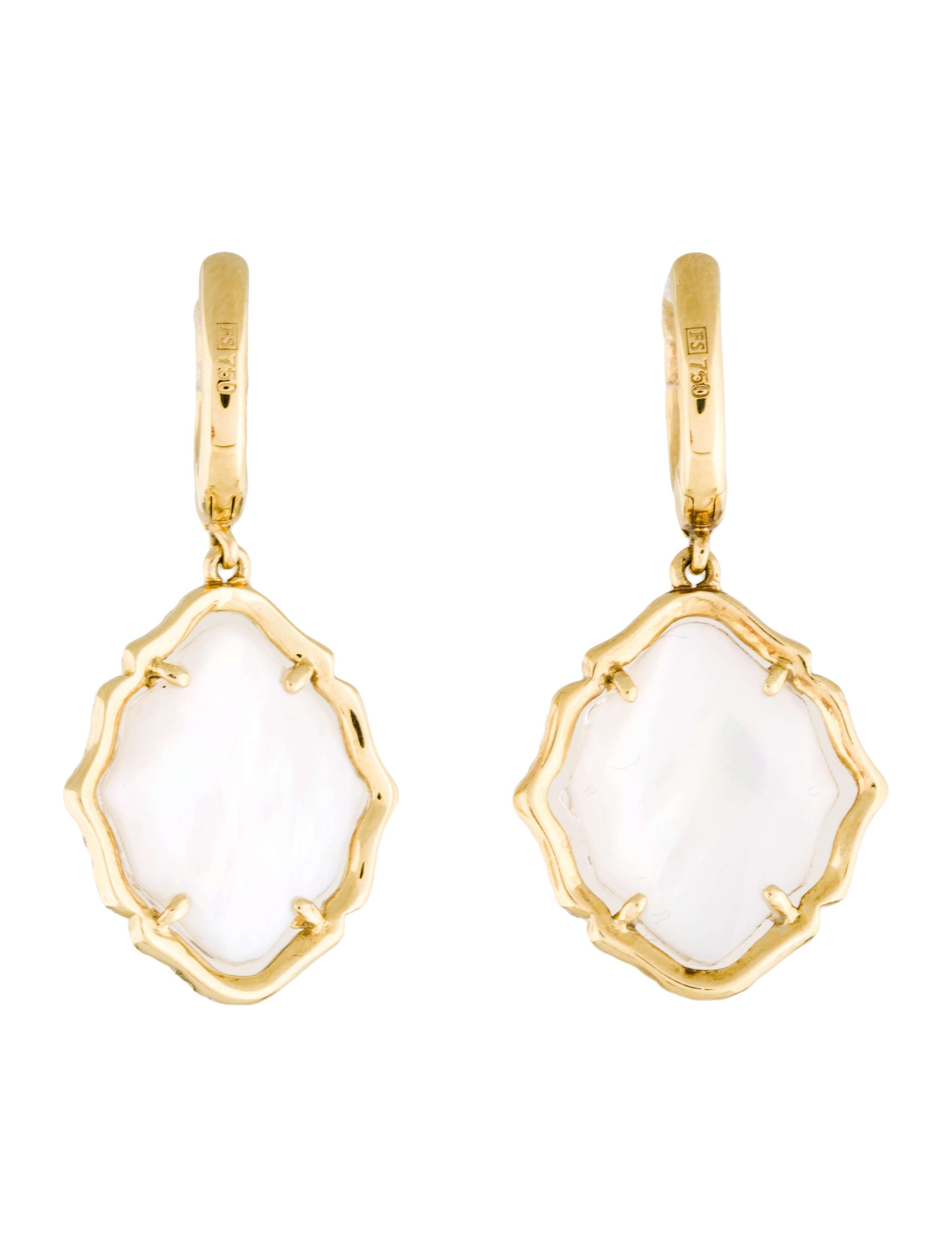 frederic sage 18k diamond mother of pearl drop earrings. Black Bedroom Furniture Sets. Home Design Ideas