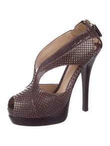 123d50b54 Fendi. Snakeskin Caged Sandals
