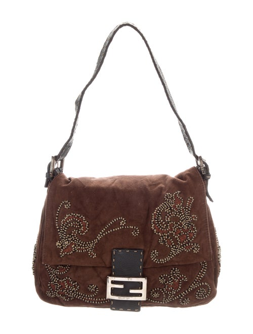 Fendi Embroidered Mama Forever Baguette silver