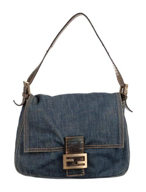 Fendi Lizard-Trimmed Denim Forever Mama Bag blue