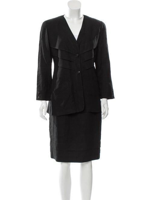 Fendi Pleated Knee-Length Skirt Set Black