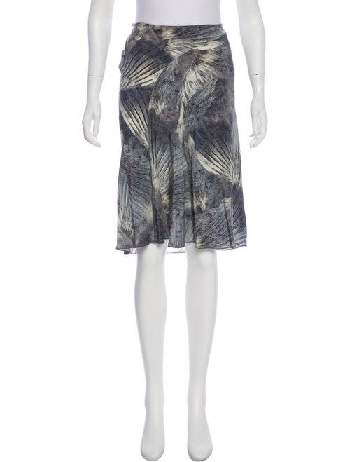 Fendi Silk Feather Print Skirt multicolor