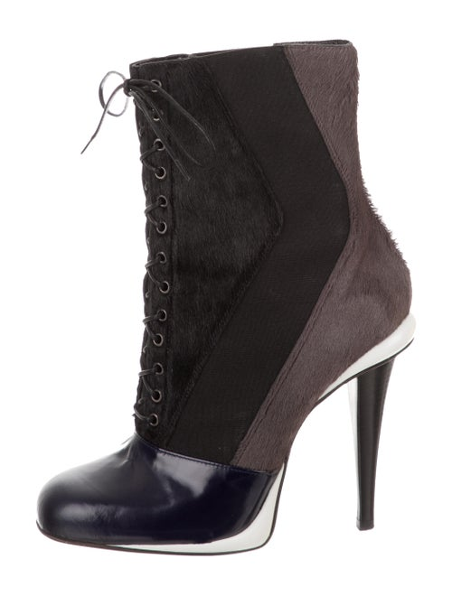 Fendi Ponyhair Square-Toe Ankle Boots Black