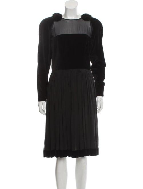Fendi Fur-Trimmed Midi Dress Black
