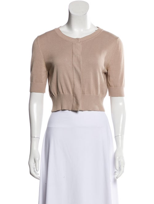 Fendi Short Sleeve Knit Cardigan Beige