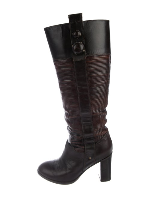 Fendi Leather Knee-High Boots brown
