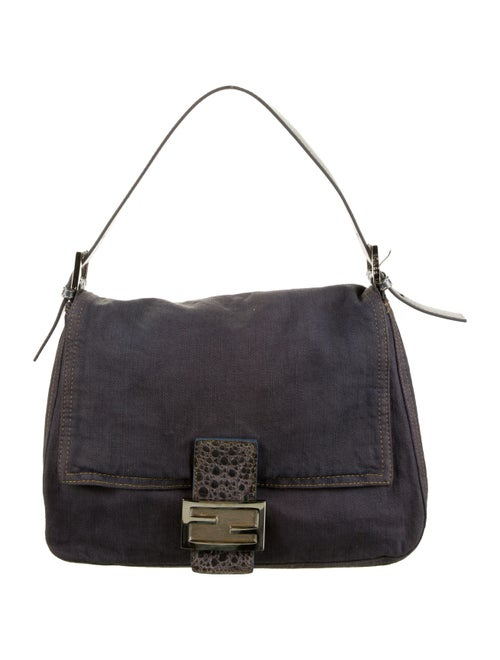 Fendi Mama Forever Leather-Trimmed Bag silver