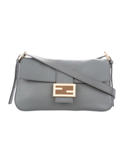 Fendi Smooth Leather Baguette Grey