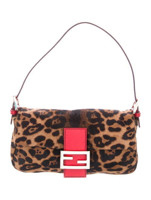 Fendi Leather-Trimmed Ponyhair Baguette Brown