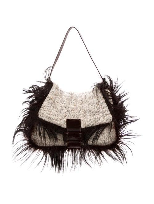 Fendi Fur-Trimmed Wool Baguette wool