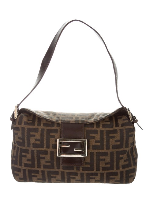 Fendi Leather-Trimmed Zucca Baguette Brown