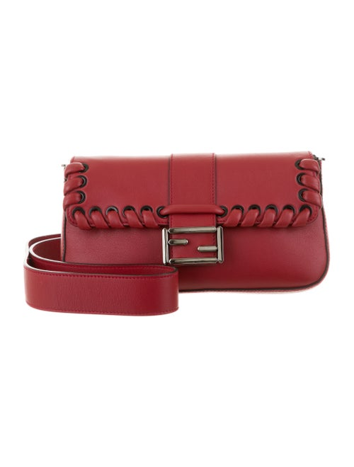 Fendi Whipstitch Leather Baguette grey