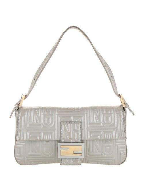 Fendi Leather Monogram Baguette Grey
