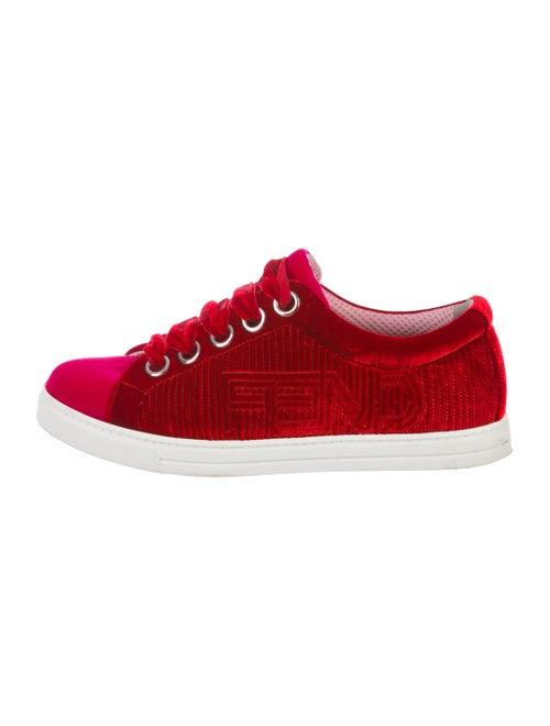 Fendi Velvet Low-Top Sneakers Red
