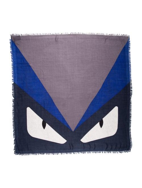 Fendi Monster Silk-Wool Scarf blue