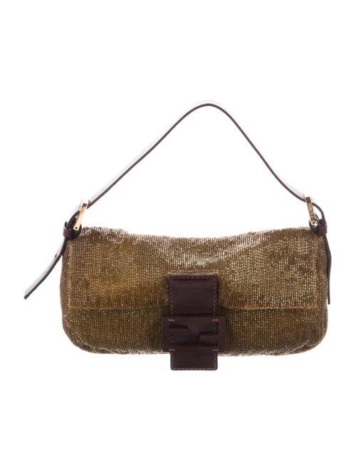 Fendi Beaded Baguette Bag Olive
