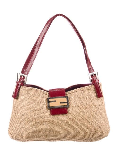 Fendi Straw Woven Shoulder Bag Silver