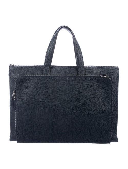 Fendi Leather Briefcase silver
