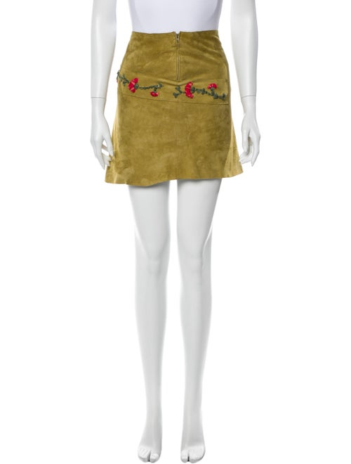 Fendi Leather Mini Skirt Green