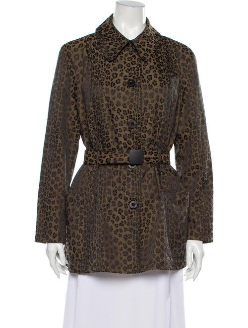Fendi Animal Print Coat Brown