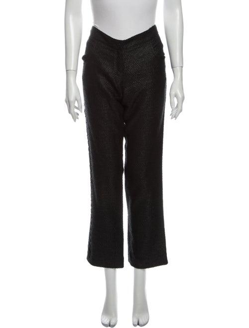 Fendi Tweed Pattern Straight Leg Pants Black