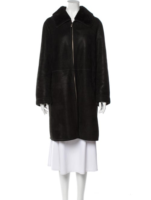 Fendi Shearling Faux Fur Coat Black
