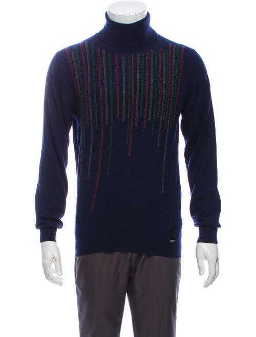 Fendi Striped Turtleneck Pullover Blue