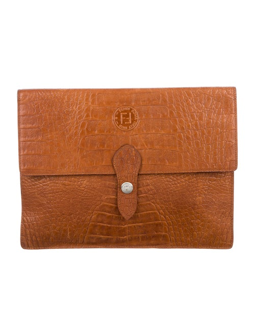 Fendi Vintage Embossed Clutch Brown